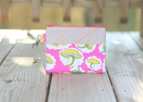 Zipper Pouch - Mushrooms on Pink