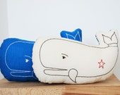 whale pillow in ivory