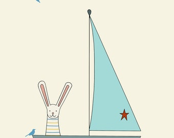 sail away print, fine art print by kate durkin