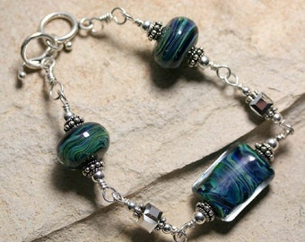 Lampwork Swarovski and Sterling Bracelet