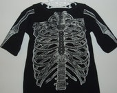 Baby Dress SKELETON punk rock metal recycled T-Shirt 3-12 mos