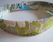 Reversable Fabric Adult Headband Amy Butler Green and Blue
