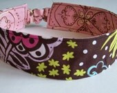 Reversable Fabric Adult Headband Chocolate Lollipop Pink and Brown