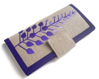 MADE TO ORDER // Handmade Womens Wallet // Purple leaves wallet // linen wallet // wallet for women