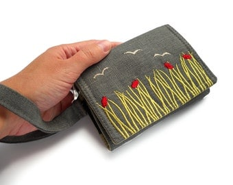 MADE TO ORDER | iPhone Wallet | smart Phone case | Embroidered phone wallet in Sea Grass | Smart phone Wallet