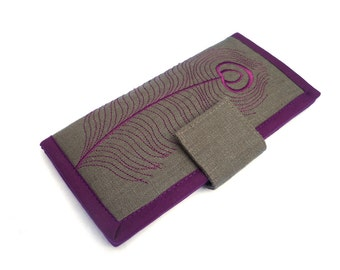 READY TO SHIP | Women's wallet | Embroidered Bifold Wallet | Plum Peacock feather on Gray wallets