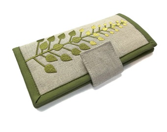 Womens Bifold wallet - Green branches tree embroidered womens wallet - Handmade card holder womens clutch wallet