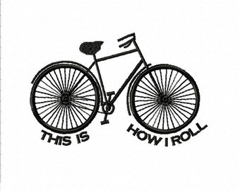 Bicycle Embroidery Design | How I Roll | Cyclist machine embroidery design | Modern machine embroidery