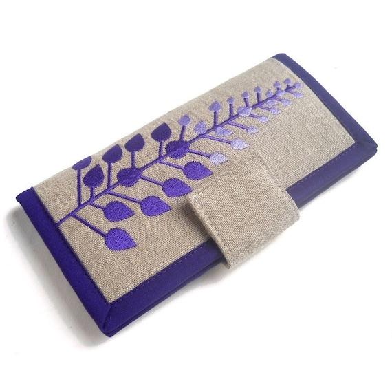 Handmade Womens Wallet // Purple leaves wallet // linen wallet // wallet for women
