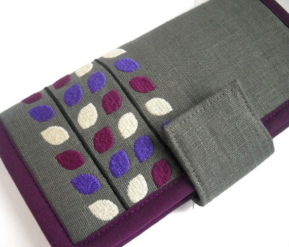 Womens Wallet / Handmade fabric wallet / Vine Purple wallet / modern wallet / Large Wallet / wallet with wrist strap / Gifts for women