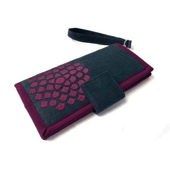 Women's wallet -  Card wallet - Purple flower wallet - Bifold wallet - Navy blue wallet - Women's gift