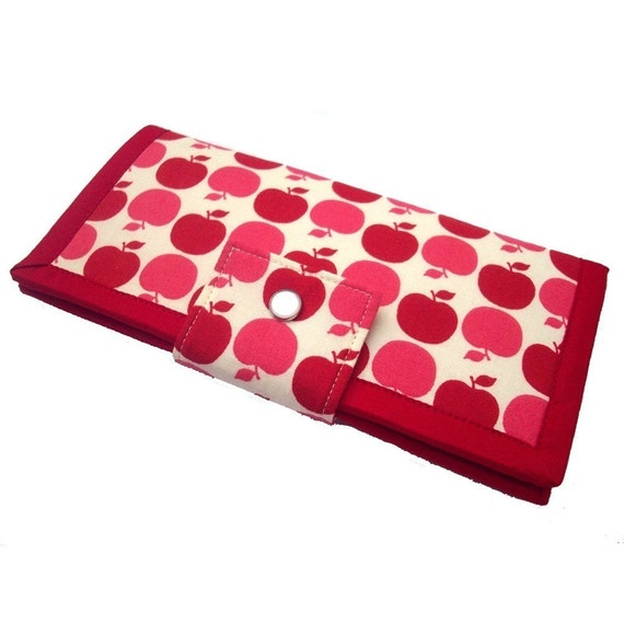 Wallet in Red and Pink Apples