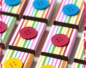 BUTTON PARTY FAVOR Matchbox Goodies - Party Pack of (20) Favors - Recycled - Pink, Green, Yellow, Blue, Orange and Red