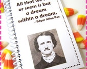 Mini Notebook EDGAR ALLAN POE All that we see or seem is but a dream within a dream, Mini Jot and Go Journal Upcycled Notebook, Eco Friendly