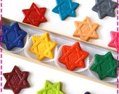 Kids' STAR OF DAVID Crayons Coloring Party Favors - Set of Four (4) - Eco-Friendly Toys in Assorted Colors - Free Gift Box