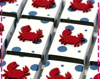 BEACH PARTY CRAB Party Favors Matchbox Goodies - Party Pack of (20) - Birthday / Wedding Favors - White with Blue Polka Dots