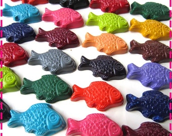 Kids' UNDER THE SEA Fish Coloring Crayons - Party Pack of (20) Favors - Eco-Friendly Toys in Asst. Colors - Handmade Recycled Party Favors