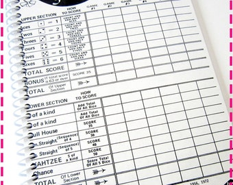 VINTAGE YAHTZEE GAME Score Card Original Recycled Notebook / Upcycled Journal, Spiral Bound and Eco Friendly, Vintage Circa 1972