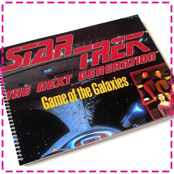 Leonard Nimoy STAR TREK The Next Generation GAME of the Galaxies Board Game Recycled / Upcycled Journal Notebook -  Circa 1993