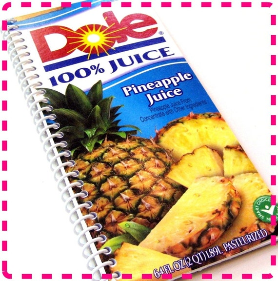 PINEAPPLE JUICE Original Recycled Notebook / Upcycled Journal - Eco-Friendly and Spiral Bound - Tropical-