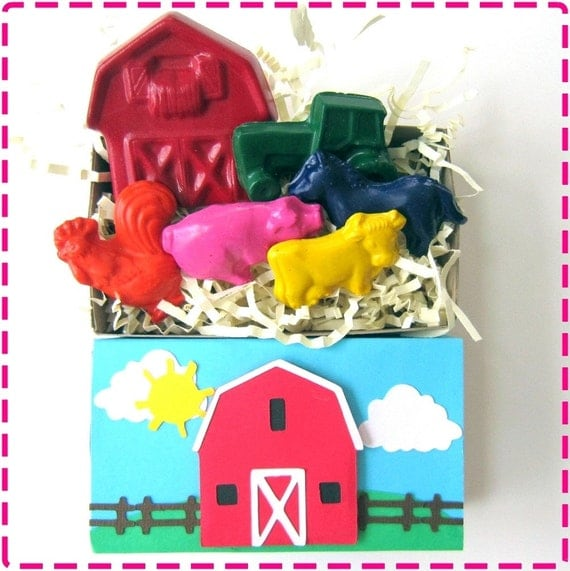 Kids BARNYARD FARM CRAYON Box Barn, Tractor Pig Horse Cow Rooster Eco-Friendly Birthday Party Toys Down on the Farm Country For Boys & Girls