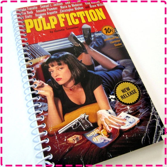 Quentin Tarantino PULP FICTION Timecycled / Recycled / Upcycled VHS Video Movie Journal Notebook - Spiral Bound and Eco Friendly - 1994-