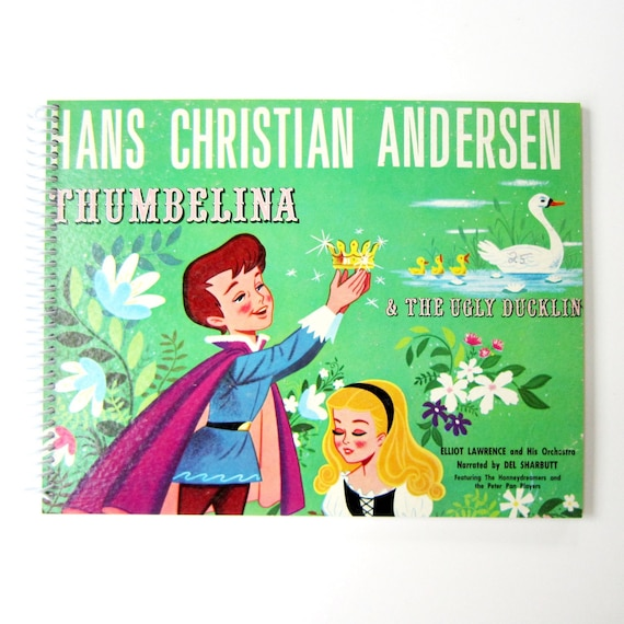 SALE 40% OFF--- Musical Stories of HANS Christian Andersen - Recycled / Upcycled Retro Record Album Cover Movie Journal Notebook - Vintage C