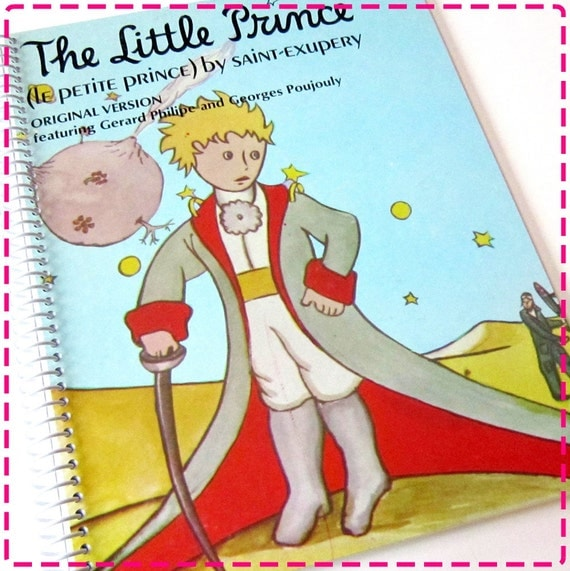 THE LITTLE PRINCE (Le Petite Prince) Recycled Upcycled Retro Record Album Cover Journal Notebook - Eco Friendly -Vintage Circa 1952