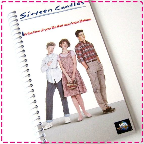 SIXTEEN CANDLES VHS Movie Video Original Recycled Notebook / Upcycled Journal - Spiral Bound and Eco Friendly - Vintage Circa 1984