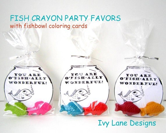Kids' UNDER THE SEA Fish Crayon Favors - Party Pack of (10) Favors (20 Crayons) Toys - Coloring Cards - Party Favors - Toys - Kits