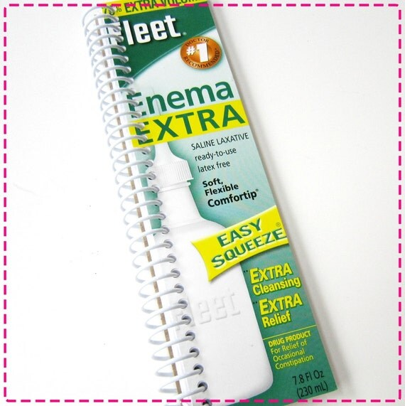 ENEMA LAXATIVE Recycled Notebook / Upcycled Journal - Spiral Bound and Eco-Friendly - Soft and Flexible