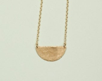 Hammered Half Moon Gold Chain Necklace // Minimalist Gift for Her // Perfect Valentine's Day Gift
