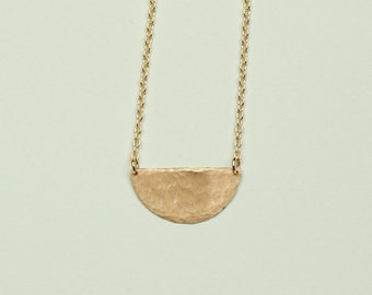 Hammered Half Moon Gold Chain Necklace // Minimalist Gift for Her // Everyday Jewelry Adornment