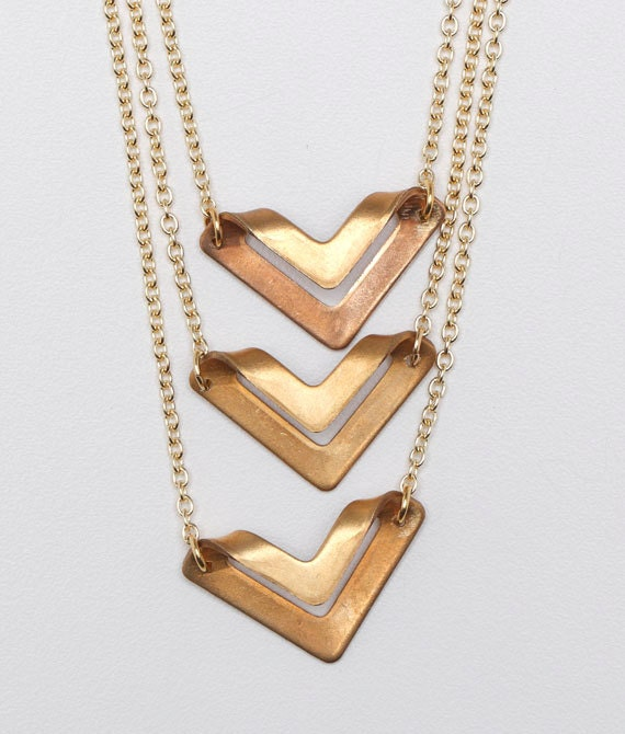 Triple Brass Triangle Tiered Necklace