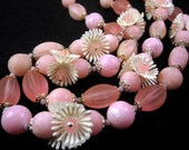 Vintage 50s Pink Lucite Bead and Flower Cluster Necklace and Earrings