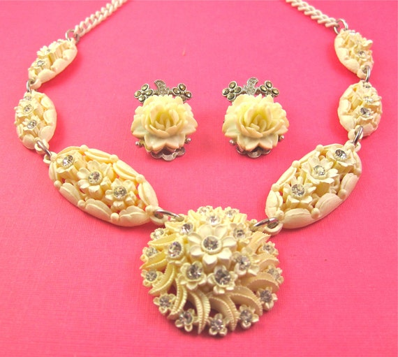 Vintage Carved Celluloid and Rhinestone Necklace and Earrings