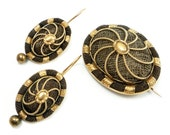 14K Victorian Mourning Hair Brooch Pendant Earrings Set c. 1860