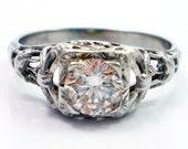 20K Antique Art Deco Diamond Filigree Engagement Ring