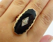 Large 10K Antique Victorian European Cut Diamond Onyx Rose Gold Cocktail Ring