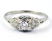 18K Vintage Art Deco Diamond Filigree Engagement Ring