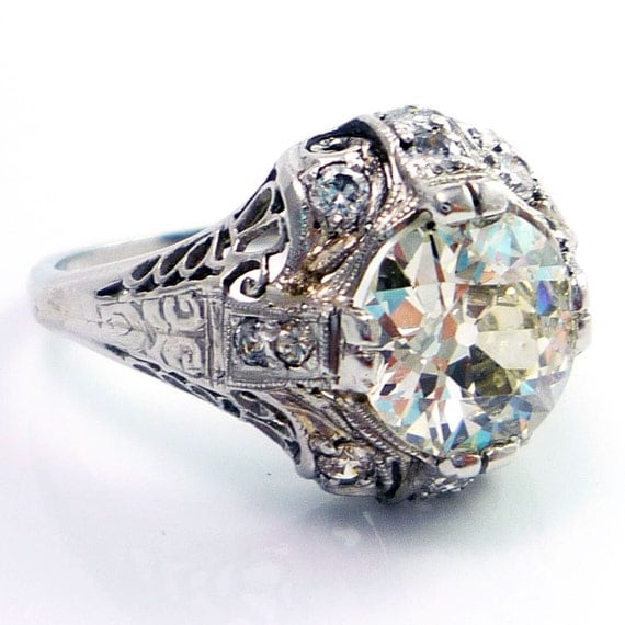 RESERVED Platinum Antique Edwardian Art Deco 1.75ct Diamond Filigree Engagement Ring