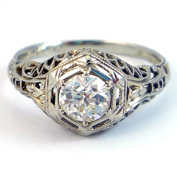 18K Antique Art Deco European Cut Diamond Filigree Engagement Ring