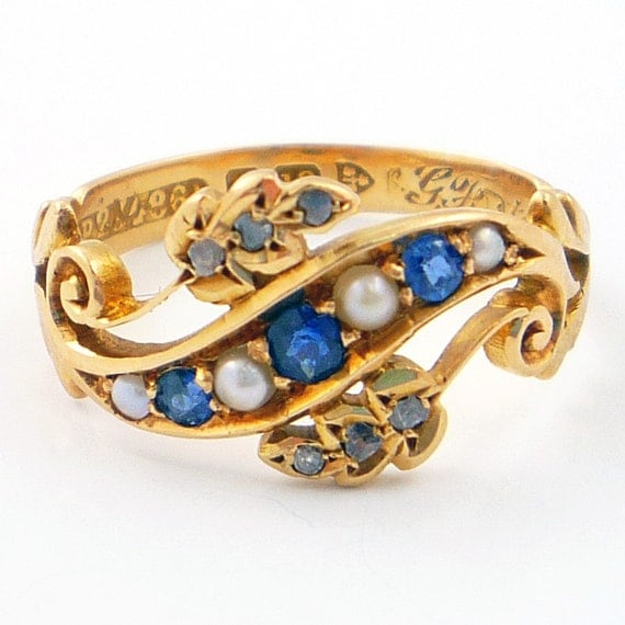 18K Antique Victorian English Blue Sapphire Seed Pearl and Diamond Ring