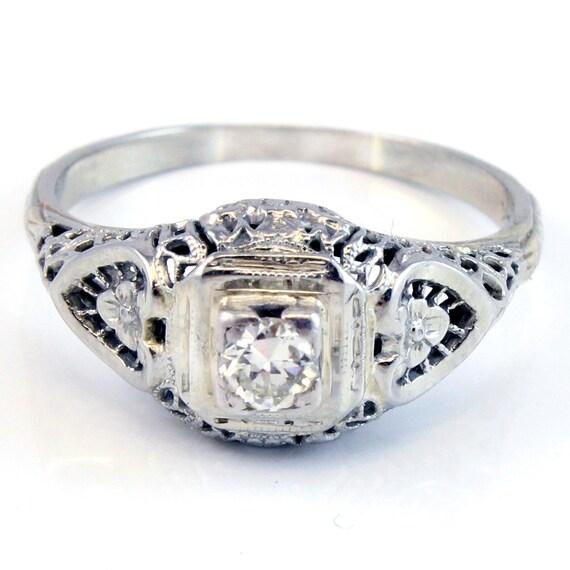 18K Antique Art Deco Diamond Filigree Engagement Ring Jewelry