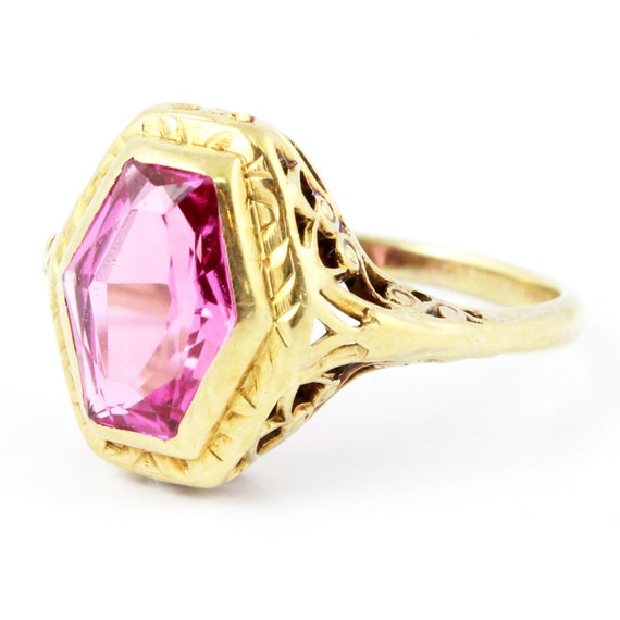14K Antique Art Deco CT Pink Sapphire Filigree Ring Jewelry