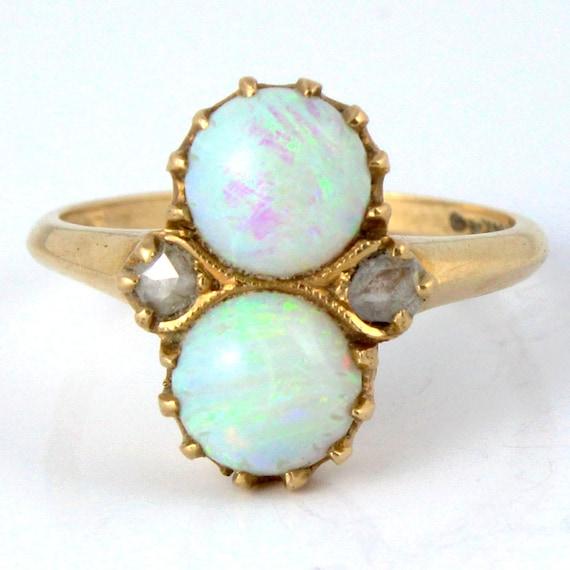 14K Antique Art Nouveau Victorian Fire Opal Rose Cut Diamond Ring