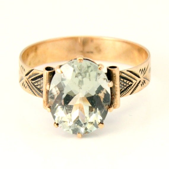Antique Rose Gold Green Amethyst Victorian 19th Century Ring