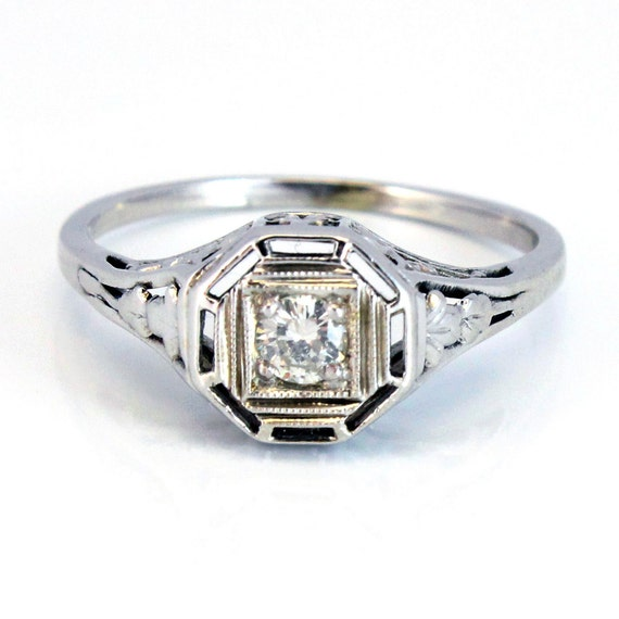 14K Antique Art Deco Filigree Diamond Engagement Ring 1920s