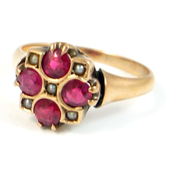 10K Antique Victorian Rose Gold CT Ruby and Seed Pearl Ring