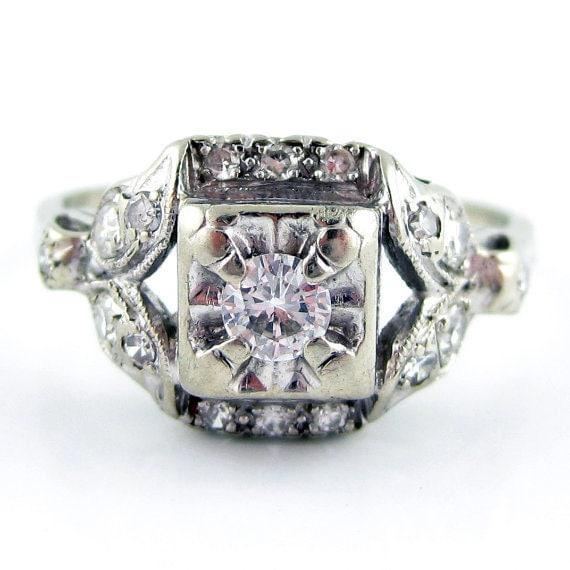 14K Vintage Art Deco Retro Antique Diamond Engagement Ring